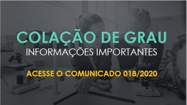 COMUNICADO 018/2020 - CRA - Cancelamento da Colação de Grau agendada para o dia 28 de abril de 2020