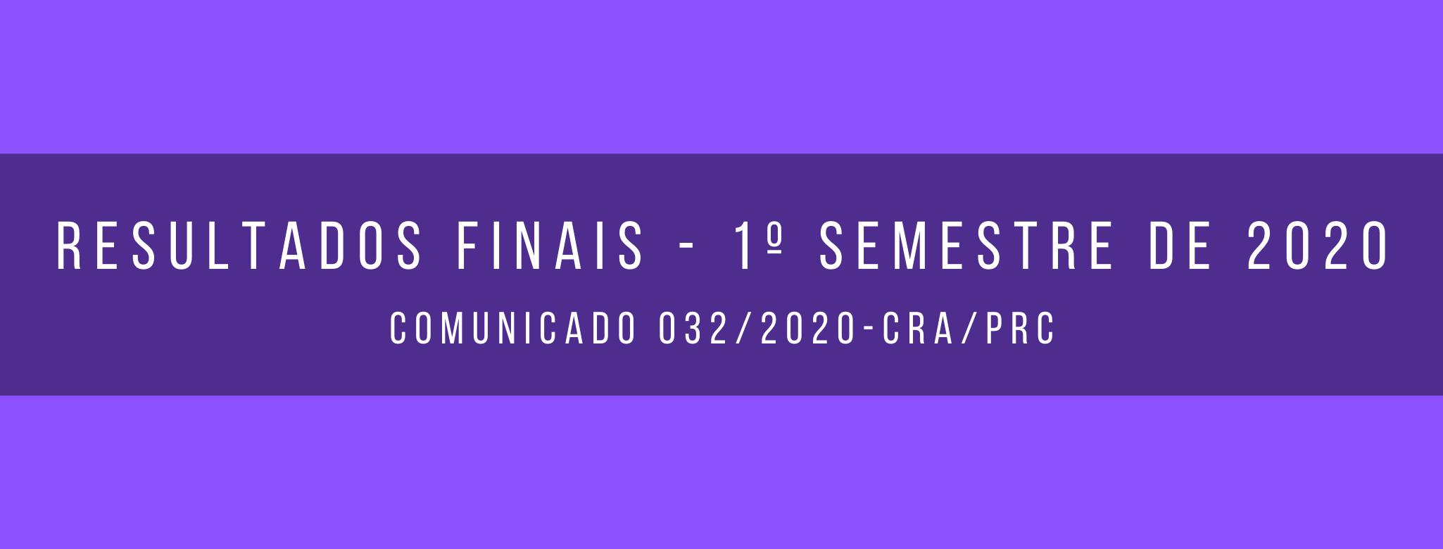 Resultados Finais (Notas e Faltas) - 1º Semestre de 2020.