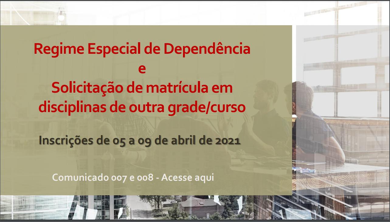 COMUNICADO 007/2021 – CRA/PRC -  SOLICITAÇÃO DE REGIME ESPECIAL DE DEPENDÊNCIA (RED) PARA O 1º SEMESTRE DE 2021