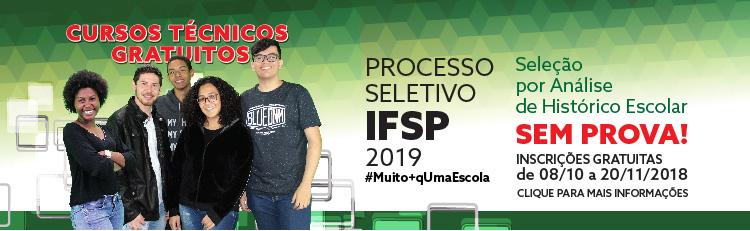 Inscrições para o Processo Seletivo IFSP 2019
