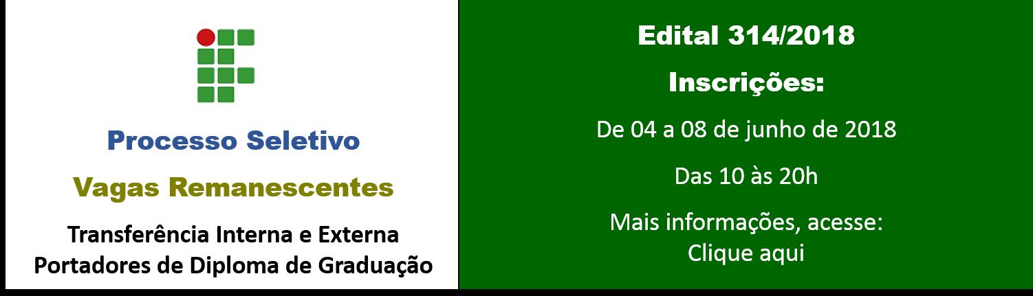 VAGAS REMANESCENTES TRANSFERÊNCIAS E PORTADOR DE DIPLOMA - 2º sem. 2018